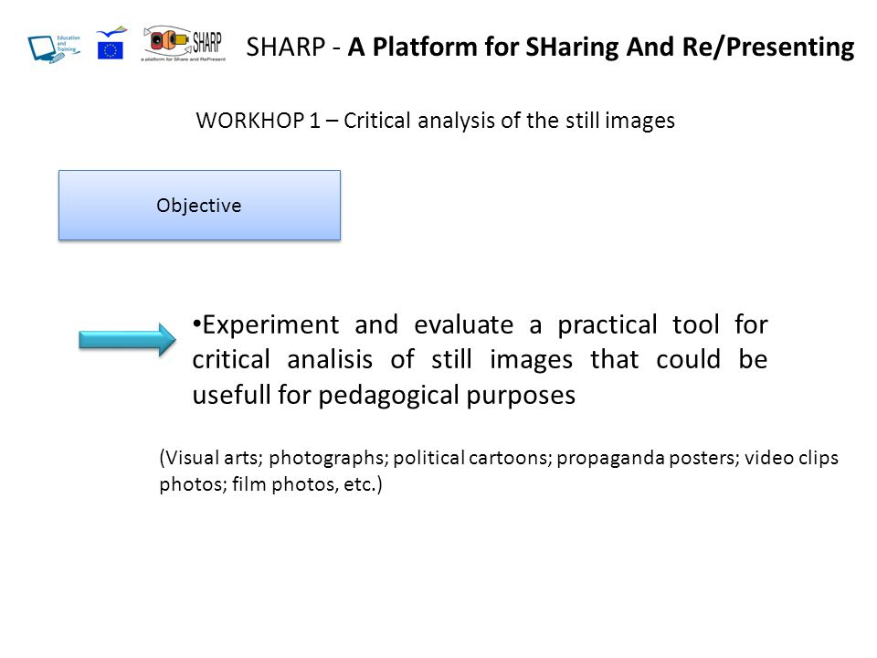 WORKHOP 1 – Critical analysis of the still images Objective Experiment and evaluate a practical tool for critical analisis of still images that could