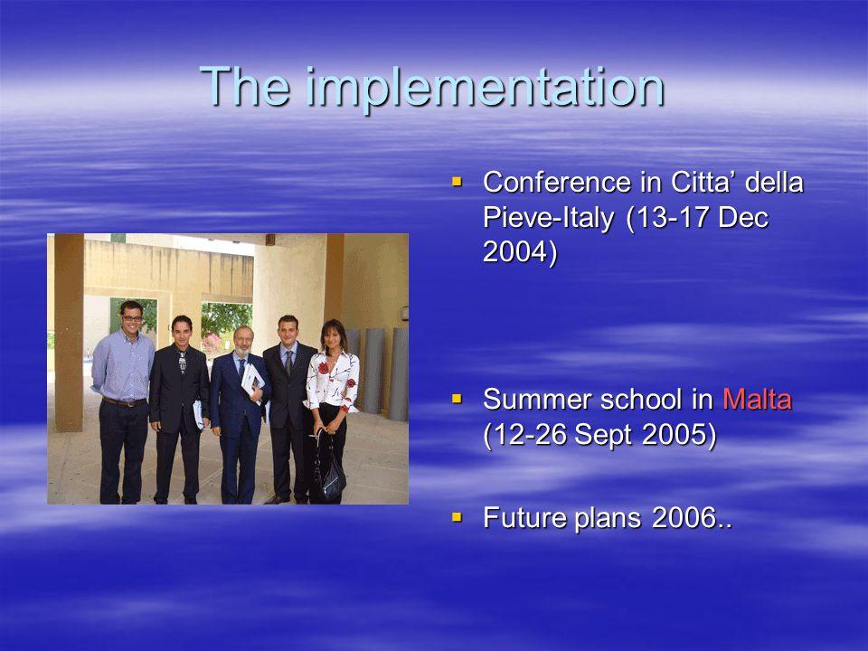 The implementation  Conference in Citta' della Pieve-Italy (13-17 Dec 2004)  Summer school in Malta (12-26 Sept 2005)  Future plans 2006..