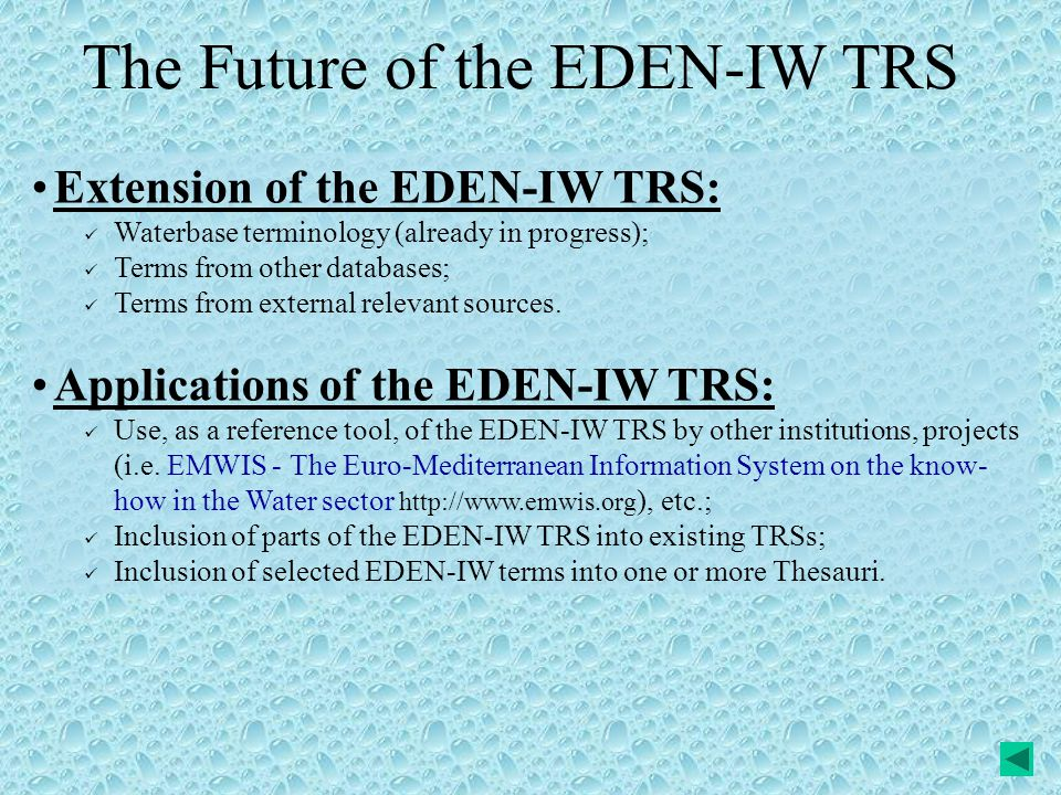 The Future of the EDEN-IW TRS Extension of the EDEN-IW TRS: Waterbase terminology (already in progress); Terms from other databases; Terms from external relevant sources.