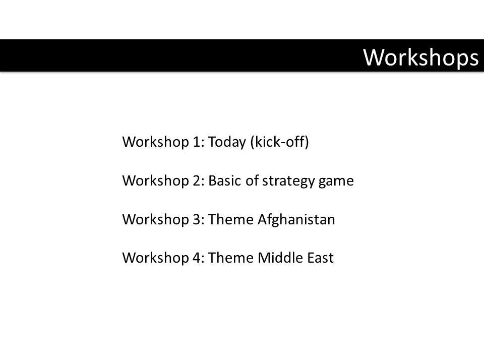 Workshops Workshop 1: Today (kick-off) Workshop 2: Basic of strategy game Workshop 3: Theme Afghanistan Workshop 4: Theme Middle East