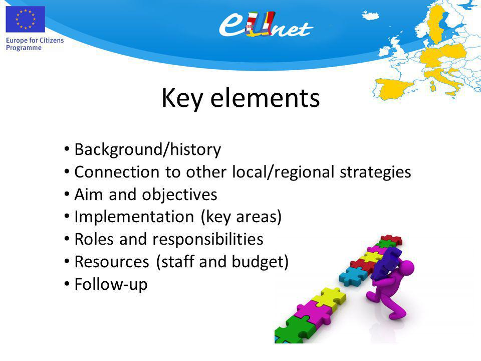Key elements Background/history Connection to other local/regional strategies Aim and objectives Implementation (key areas) Roles and responsibilities
