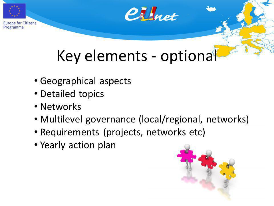 Key elements - optional Geographical aspects Detailed topics Networks Multilevel governance (local/regional, networks) Requirements (projects, networks etc) Yearly action plan