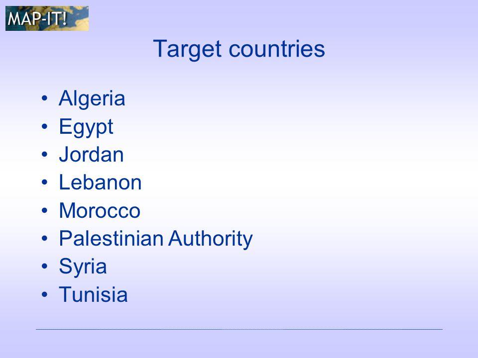 Target countries Algeria Egypt Jordan Lebanon Morocco Palestinian Authority Syria Tunisia