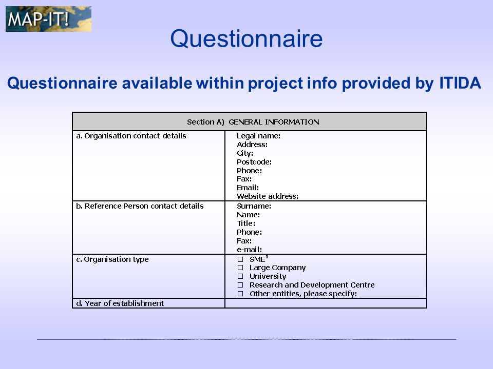 Questionnaire Questionnaire available within project info provided by ITIDA