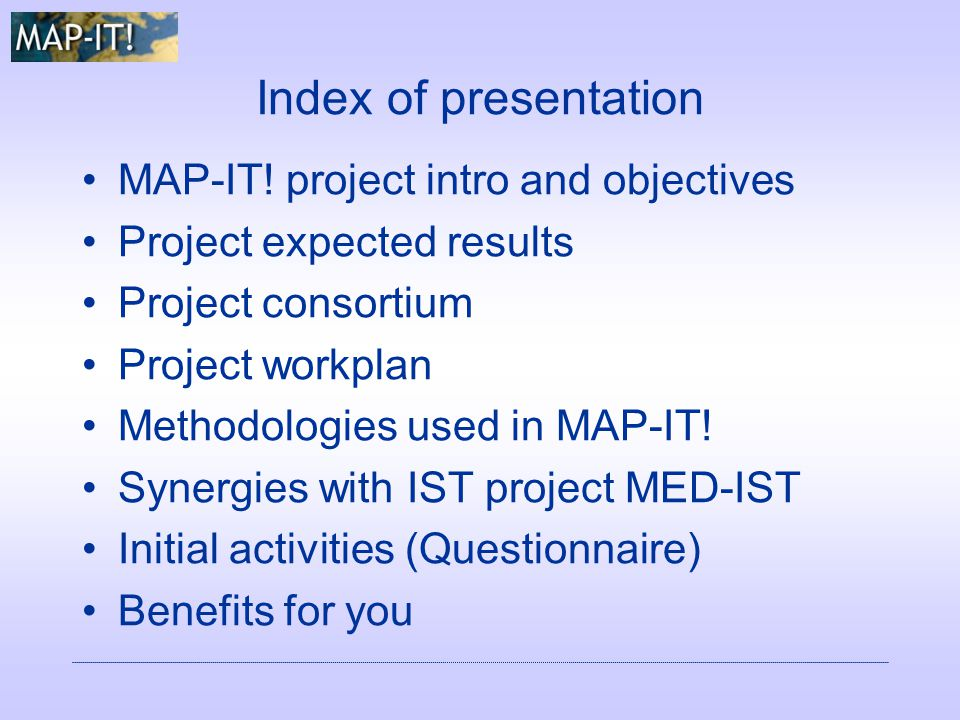 Index of presentation MAP-IT.