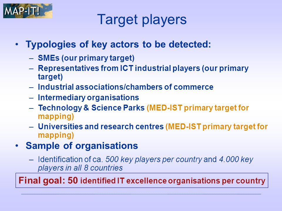 Target players Typologies of key actors to be detected: –SMEs (our primary target) –Representatives from ICT industrial players (our primary target) –Industrial associations/chambers of commerce –Intermediary organisations –Technology & Science Parks (MED-IST primary target for mapping) –Universities and research centres (MED-IST primary target for mapping) Sample of organisations –Identification of ca.