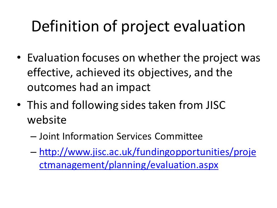 Evaluation Mary Rowlatt Mdr Partners. Definition Of Project