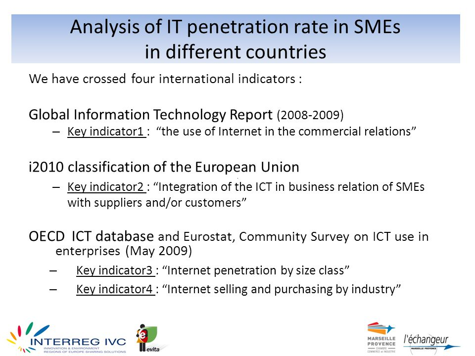 Analysis of IT penetration rate in SMEs in different countries We have crossed four international indicators : Global Information Technology Report (2