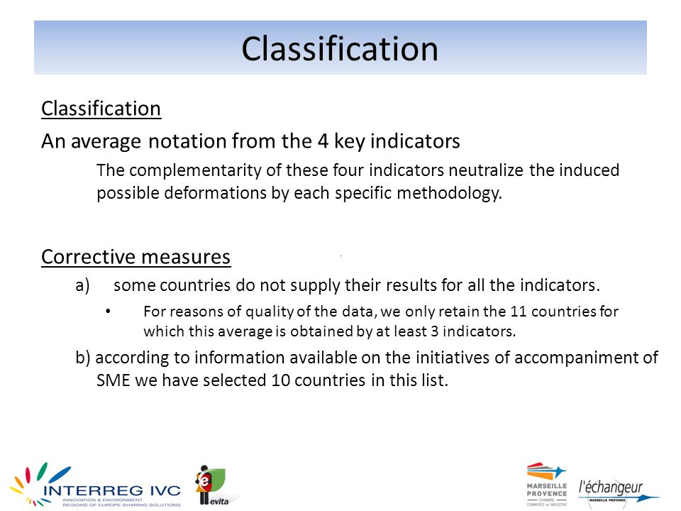 Classification An average notation from the 4 key indicators The complementarity of these four indicators neutralize the induced possible deformations