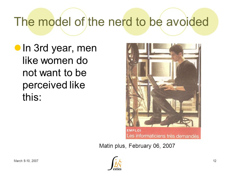 March 8-10, 200712 The model of the nerd to be avoided In 3rd year, men like women do not want to be perceived like this: Matin plus, February 06, 2007