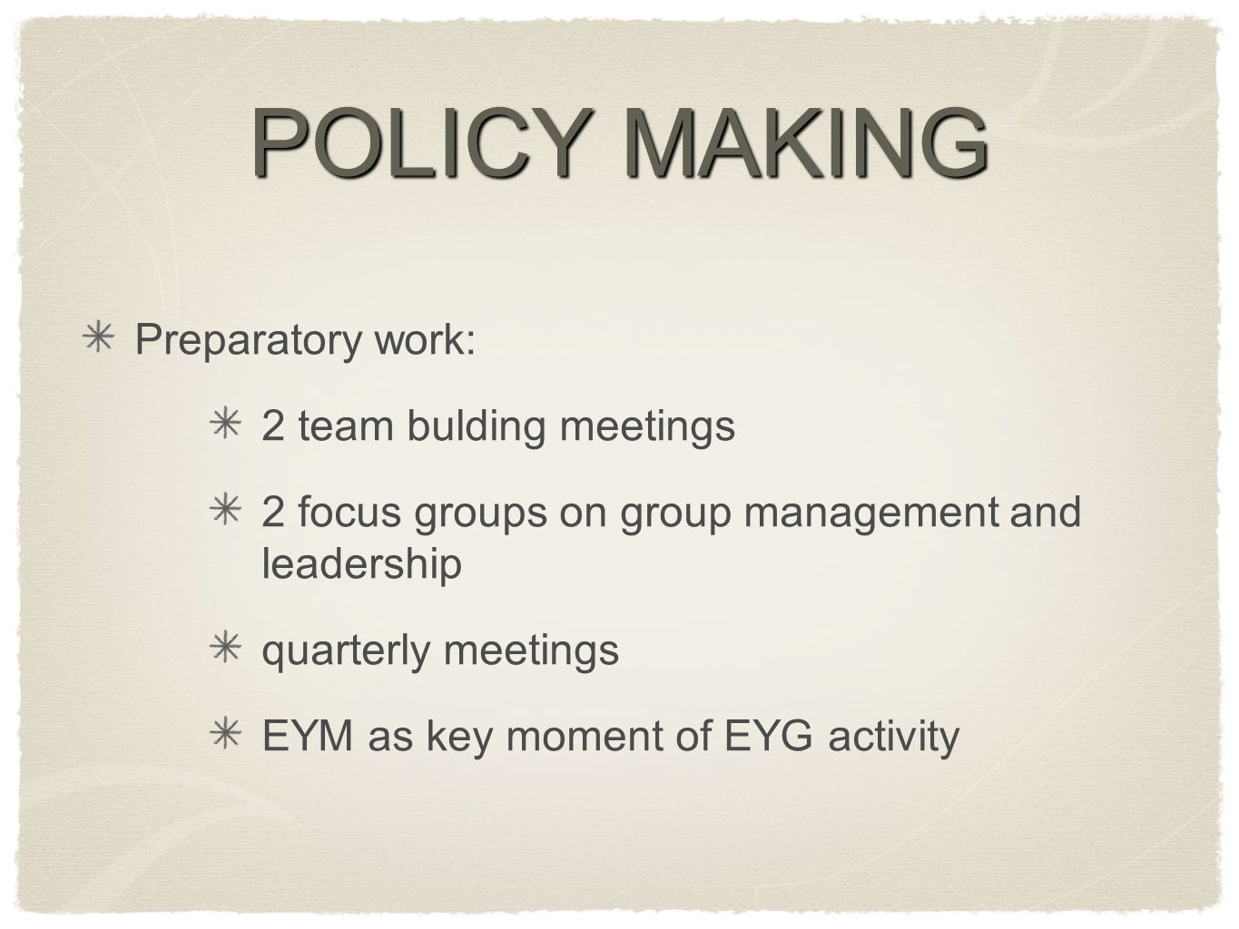 POLICY MAKING Preparatory work: 2 team bulding meetings 2 focus groups on group management and leadership quarterly meetings EYM as key moment of EYG activity