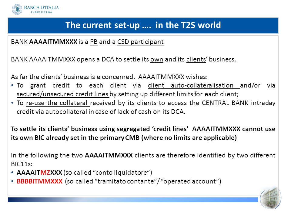 From a legal /operational point of view, we can consider: AAAAITMZ as a second BIC of AAAAITMMXXX bought by the participant to segregate its client business (segregated accounts for each client /client category using specific branch codes and linking them to the DCA via specific non-primary CMBs) ; BBBBITMM as the actual BIC of the AAAAITMMXXX client.