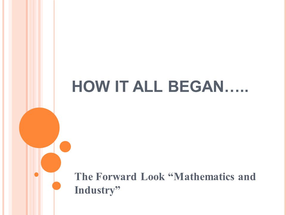 HOW IT ALL BEGAN….. The Forward Look Mathematics and Industry