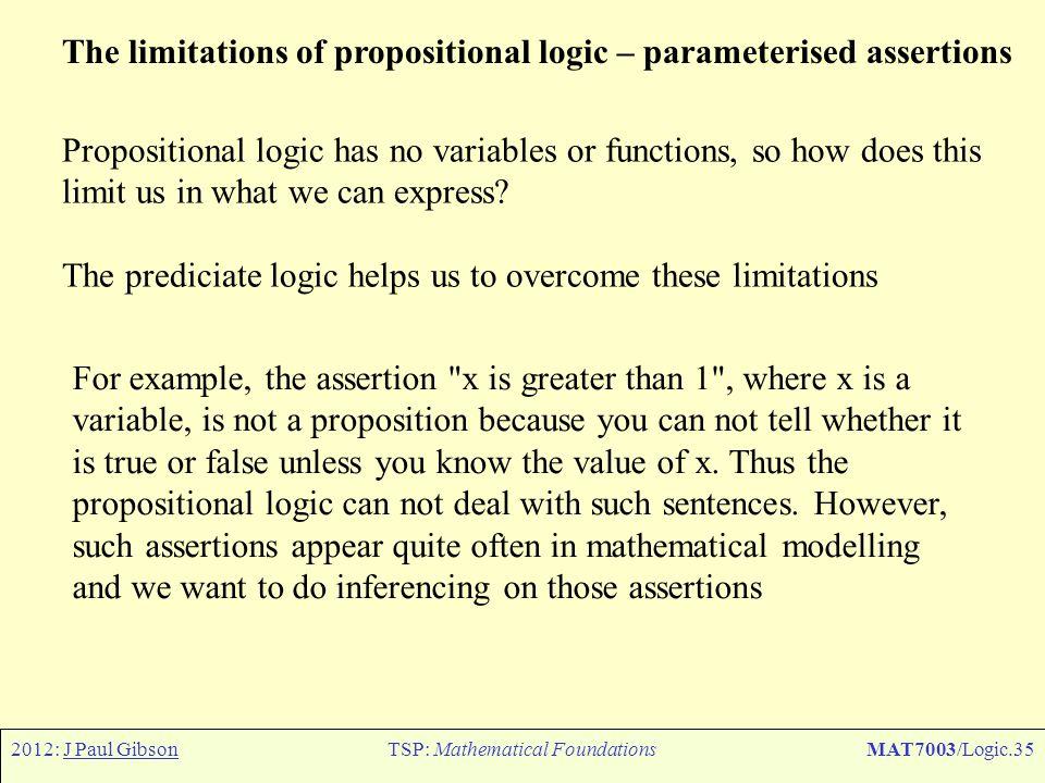 2012: J Paul GibsonTSP: Mathematical FoundationsMAT7003/Logic.35 The limitations of propositional logic – parameterised assertions Propositional logic