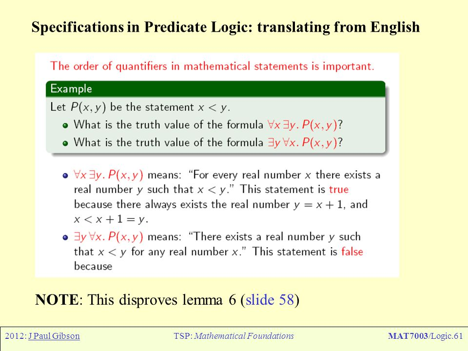 2012: J Paul GibsonTSP: Mathematical FoundationsMAT7003/Logic.61 Specifications in Predicate Logic: translating from English NOTE: This disproves lemm
