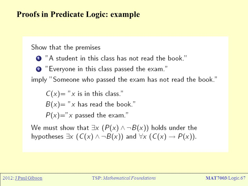 2012: J Paul GibsonTSP: Mathematical FoundationsMAT7003/Logic.67 Proofs in Predicate Logic: example