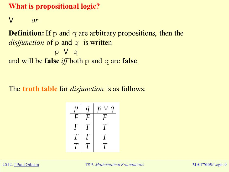 2012: J Paul GibsonTSP: Mathematical FoundationsMAT7003/Logic.40 Constructing Predicate Logic So how do we construct a language suitable for (most of) mathematics and computer science and software engineering.