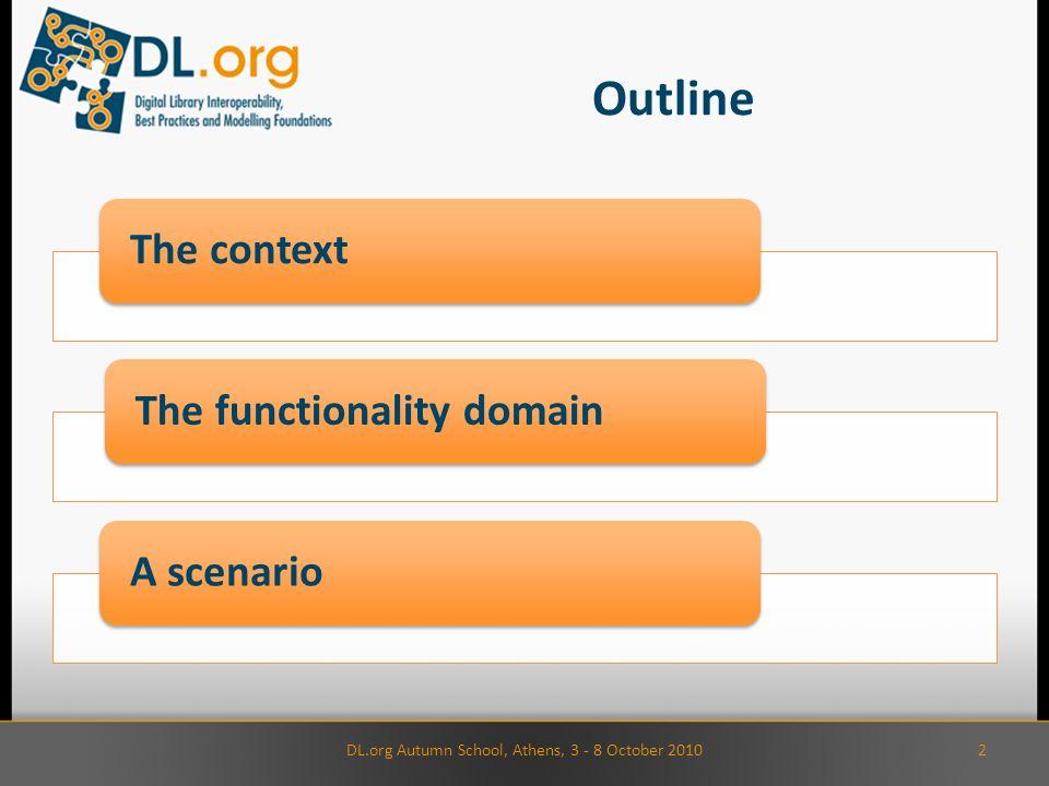 Outline 2DL.org Autumn School, Athens, 3 - 8 October 2010 The contextThe functionality domainA scenario