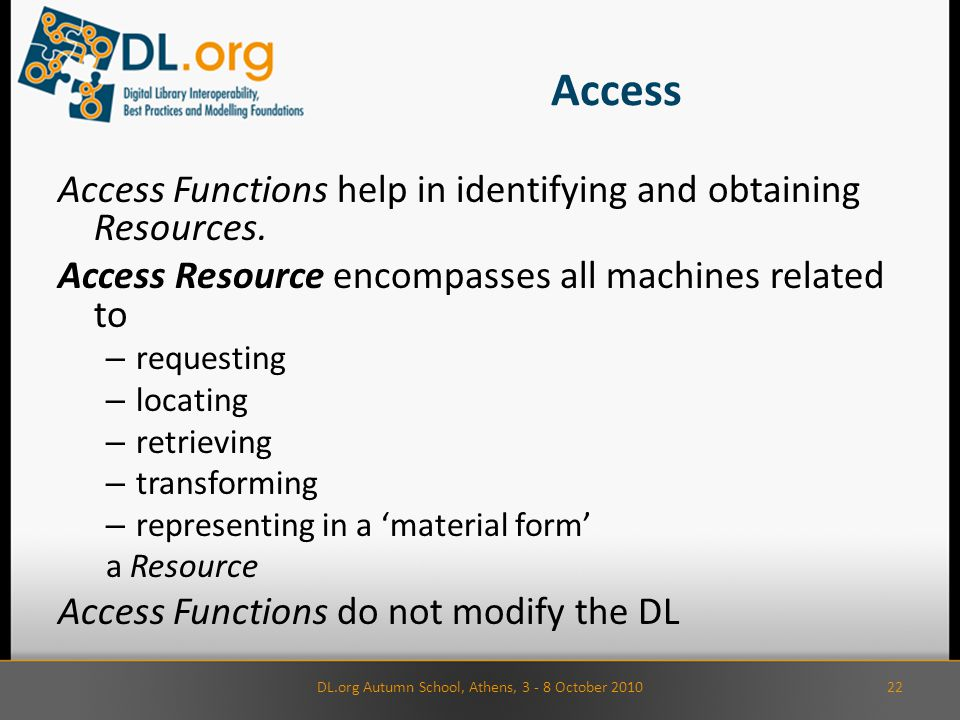 Access Access Functions help in identifying and obtaining Resources.