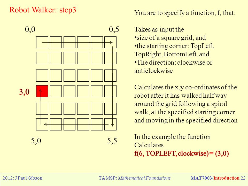 2012: J Paul GibsonT&MSP: Mathematical FoundationsMAT7003/Introduction.22 Robot Walker: step3 0,00,5 5,55,0
