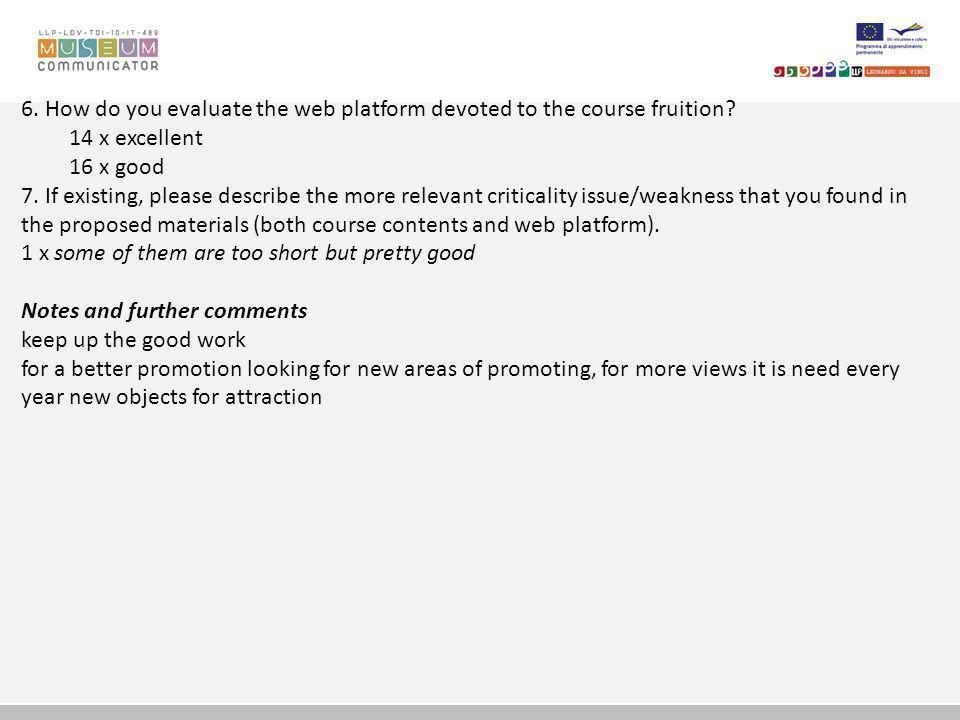 6.How do you evaluate the web platform devoted to the course fruition.