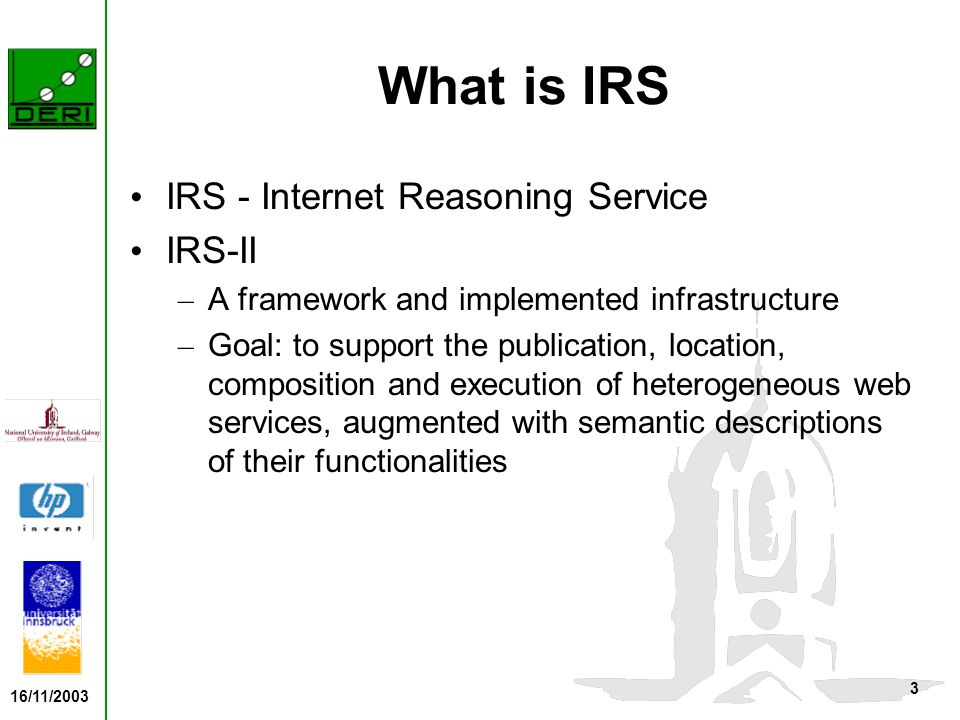 16/11/2003 4 The IRS-II Features It supports on-click publishing of standard programming code Builds on knowledge modeling research on reusable components for knowledge-based systems – Separates task specifications from method specifications and from the domain model – Supports capability driven service invocation IRS-II services are web service compatible
