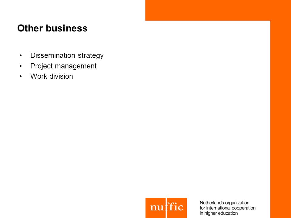 Other business Dissemination strategy Project management Work division