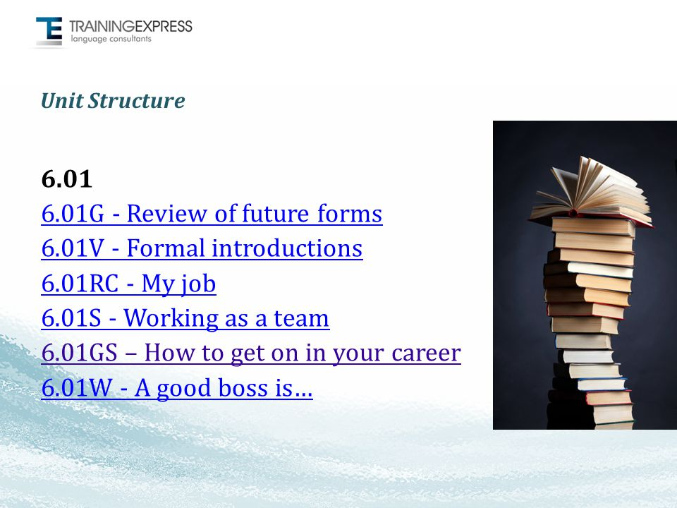 Unit Structure 6.01 6.01G - Review of future forms 6.01V - Formal introductions 6.01RC - My job 6.01S - Working as a team 6.01GS – How to get on in your career 6.01W - A good boss is…