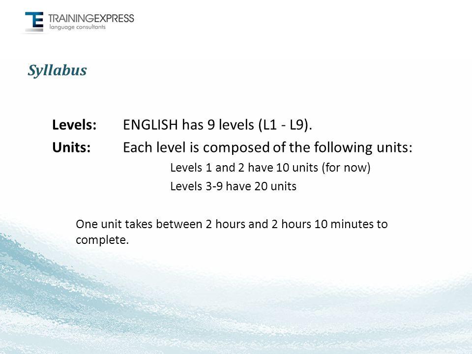 Syllabus Levels: ENGLISH has 9 levels (L1 - L9).