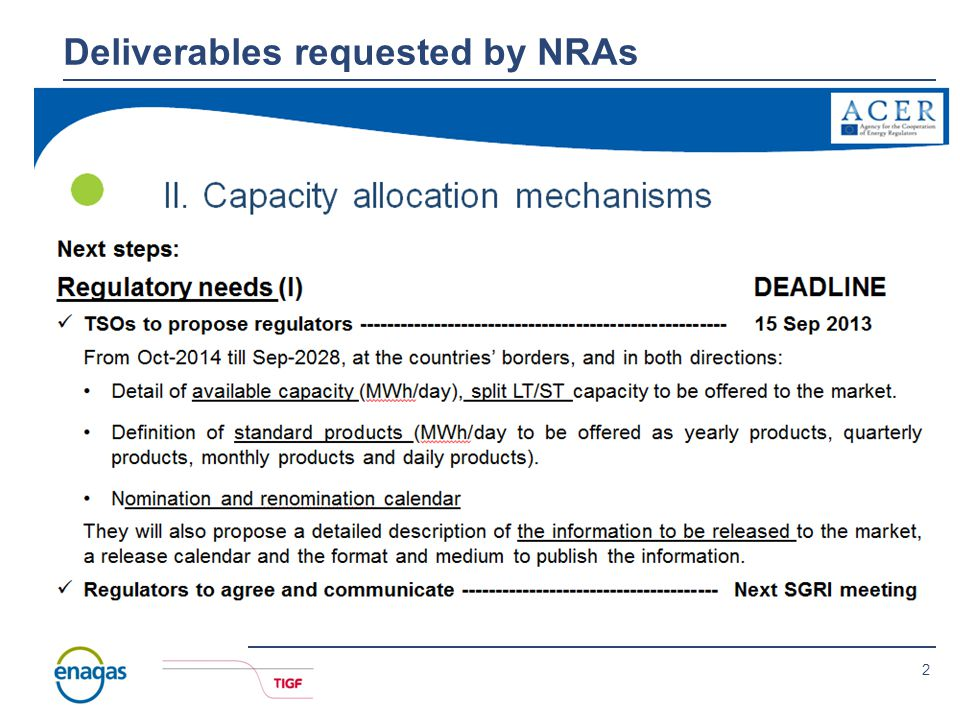 2 Deliverables requested by NRAs