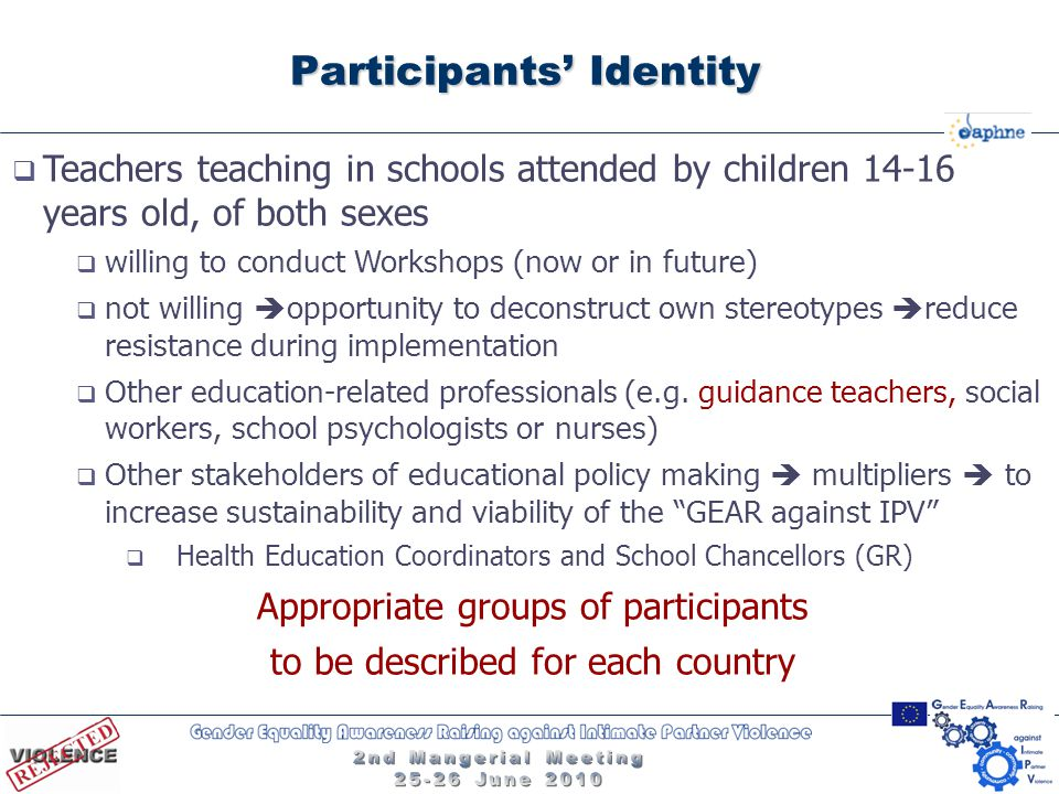 Participants' Identity  Teachers teaching in schools attended by children 14-16 years old, of both sexes  willing to conduct Workshops (now or in fu