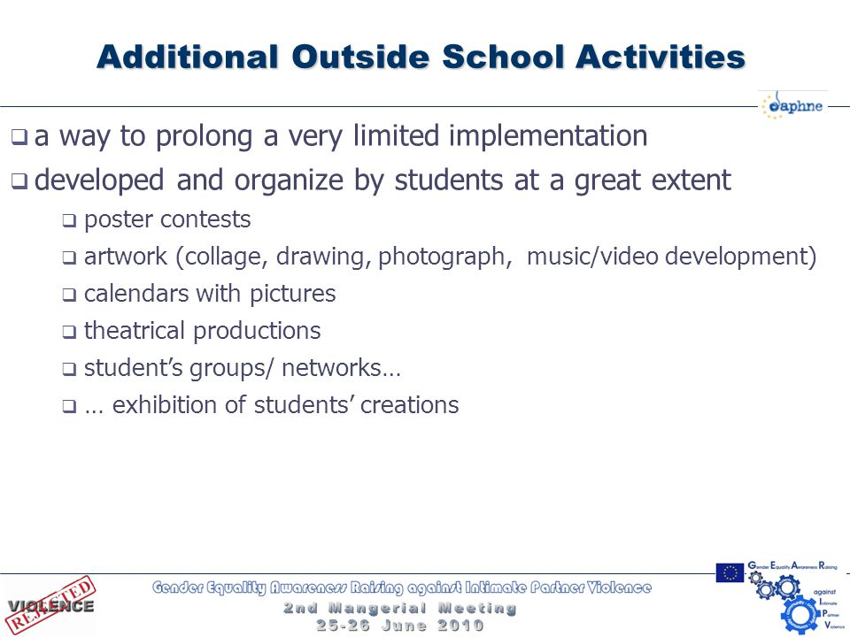 Additional Outside School Activities  a way to prolong a very limited implementation  developed and organize by students at a great extent  poster