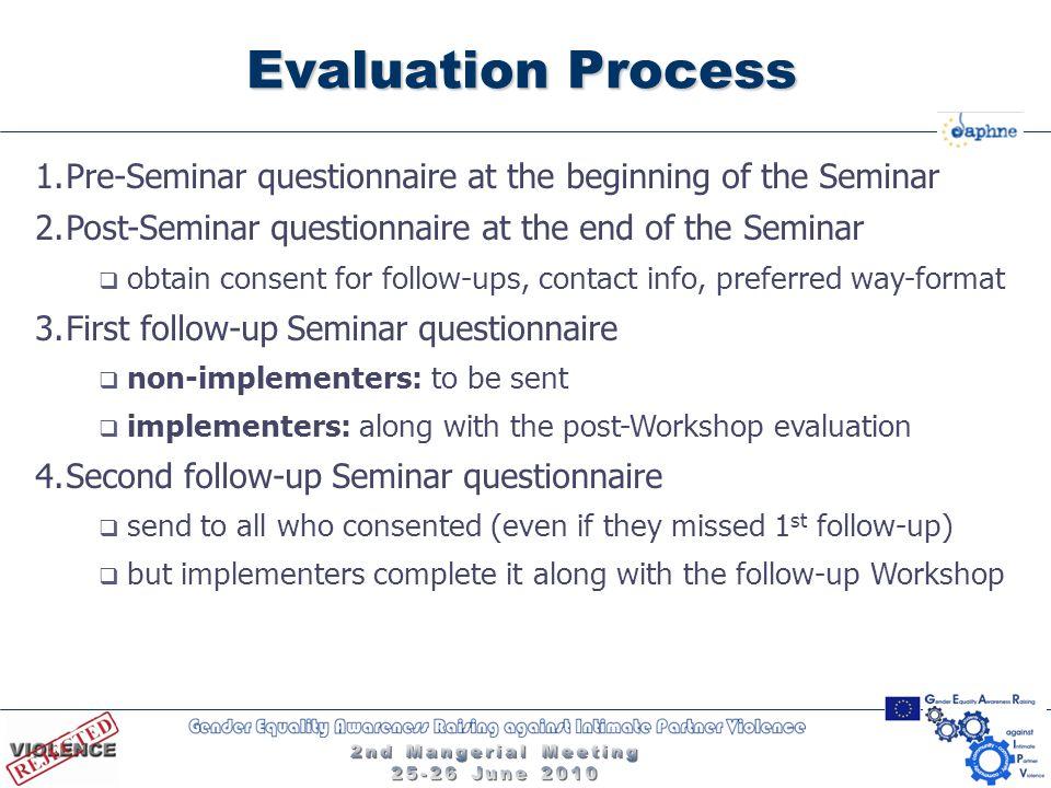 Evaluation Process 1.Pre-Seminar questionnaire at the beginning of the Seminar 2.Post-Seminar questionnaire at the end of the Seminar  obtain consent