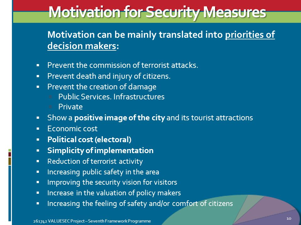 Motivation for Security Measures Motivation can be mainly translated into priorities of decision makers:  Prevent the commission of terrorist attacks.