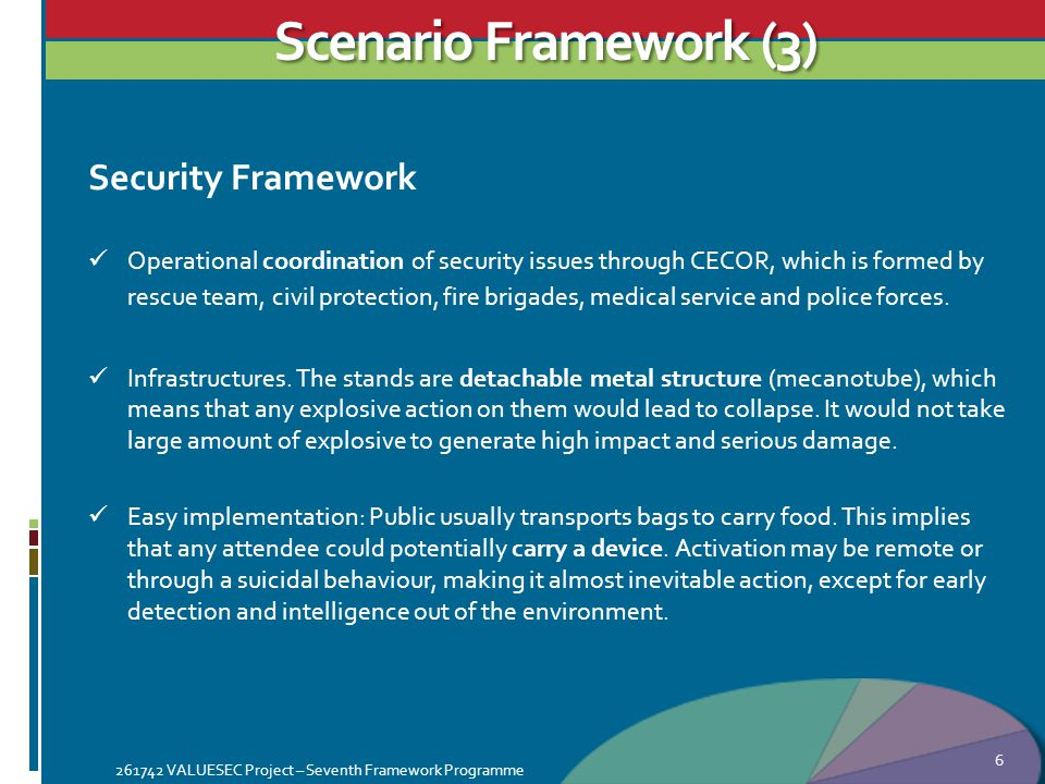 Scenario Framework (3) Security Framework Operational coordination of security issues through CECOR, which is formed by rescue team, civil protection, fire brigades, medical service and police forces.