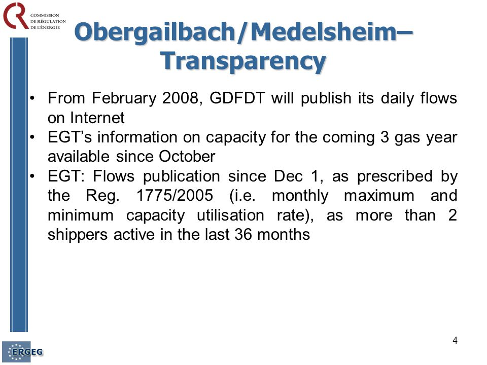 5 Obergailbach/Medelsheim Joint diagnostic TSOs produced a joint diagnostic, as of July 2007, of the products offered No firm capacity available for EGT and GDFDT until at least September 2010.