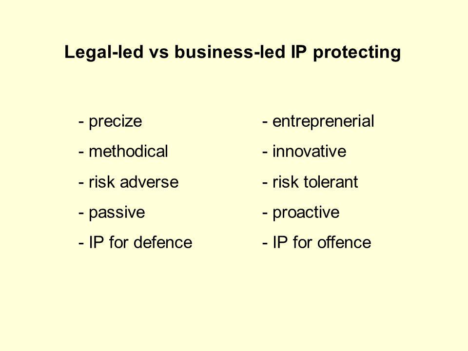 Legal-led vs business-led IP protecting - precize- entreprenerial - methodical- innovative - risk adverse- risk tolerant - passive- proactive - IP for