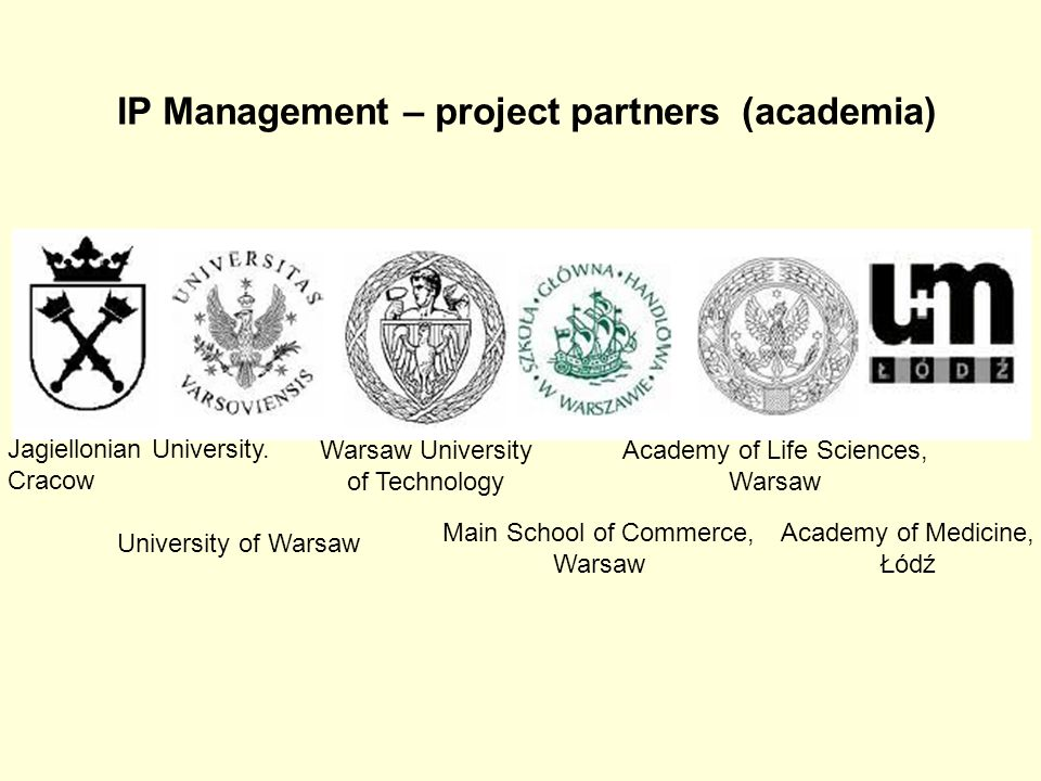 IP Management – project partners (academia) Jagiellonian University. Cracow University of Warsaw Warsaw University of Technology Main School of Comme