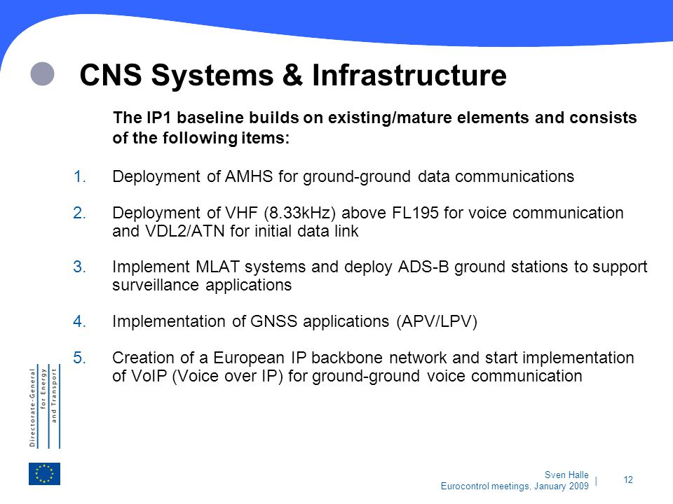   12 Sven Halle Eurocontrol meetings, January 2009 CNS Systems & Infrastructure The IP1 baseline builds on existing/mature elements and consists of th