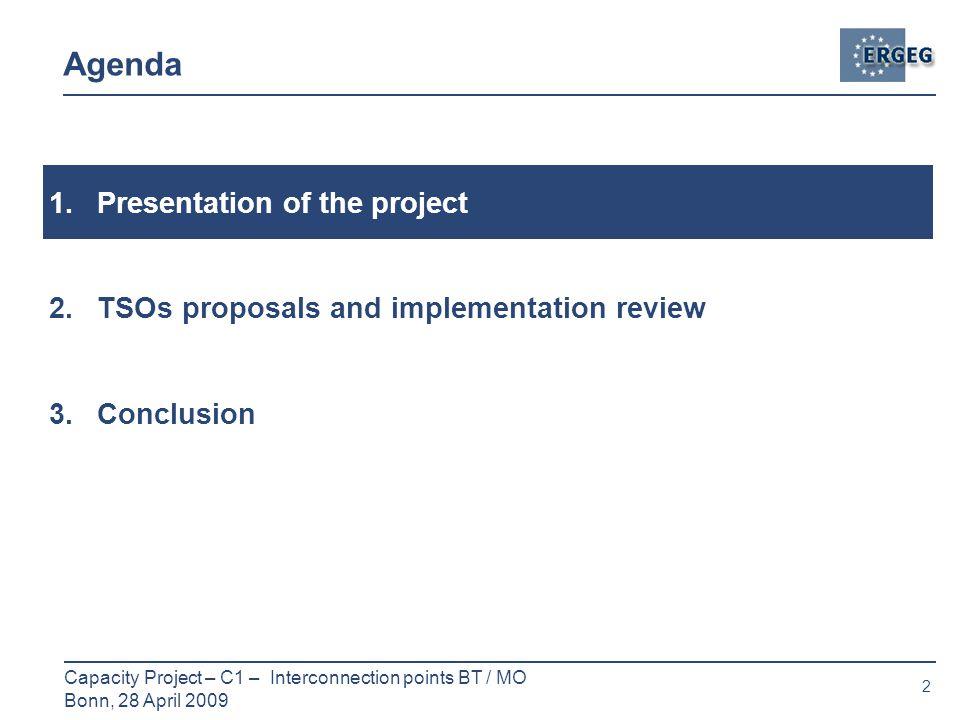 2 Capacity Project – C1 – Interconnection points BT / MO Bonn, 28 April 2009 Agenda 1.