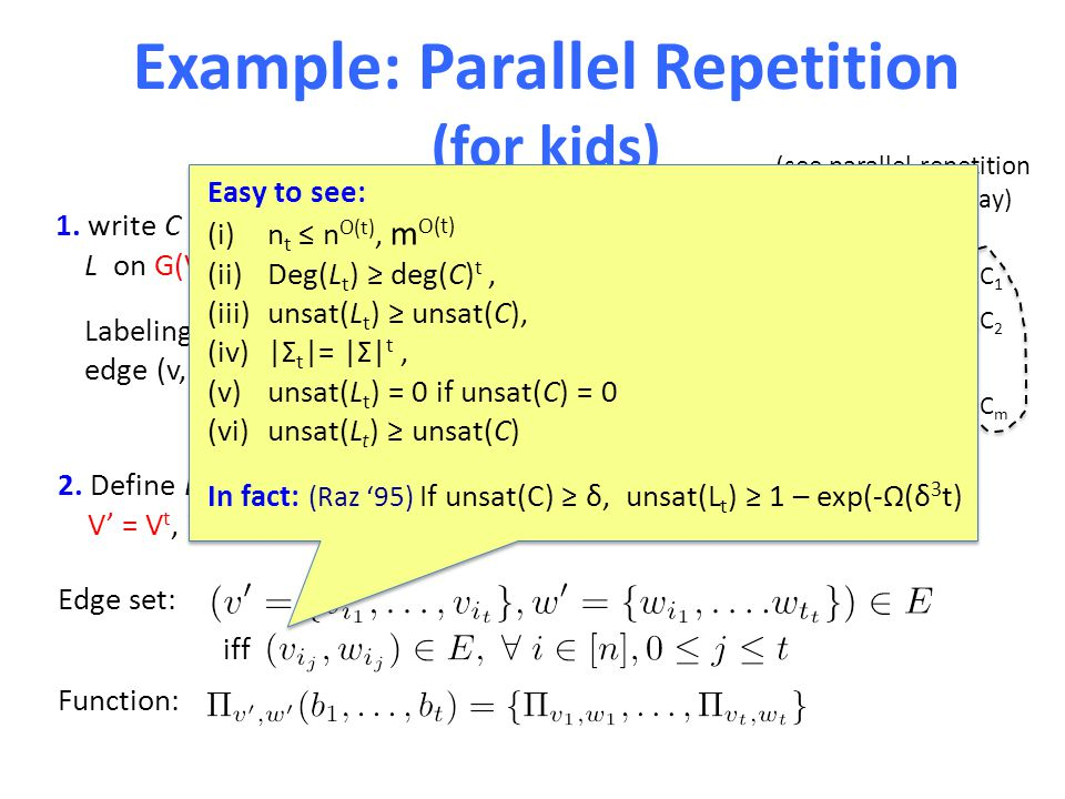 Example: Parallel Repetition (for kids) 1.