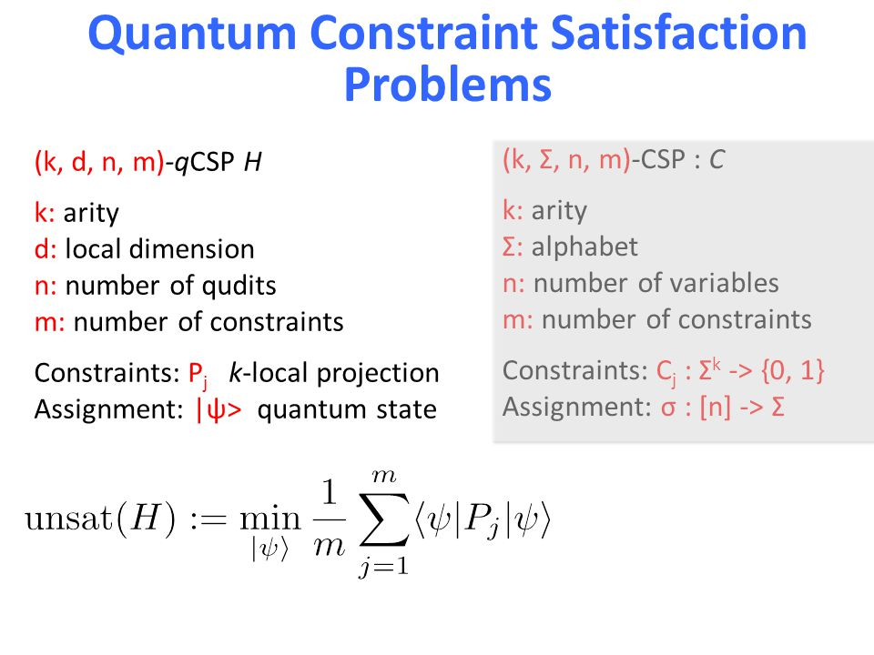 Quantum Constraint Satisfaction Problems (k, d, n, m)-qCSP H k: arity d: local dimension n: number of qudits m: number of constraints Constraints: P j k-local projection Assignment: |ψ> quantum state (k, Σ, n, m)-CSP : C k: arity Σ: alphabet n: number of variables m: number of constraints Constraints: C j : Σ k -> {0, 1} Assignment: σ : [n] -> Σ