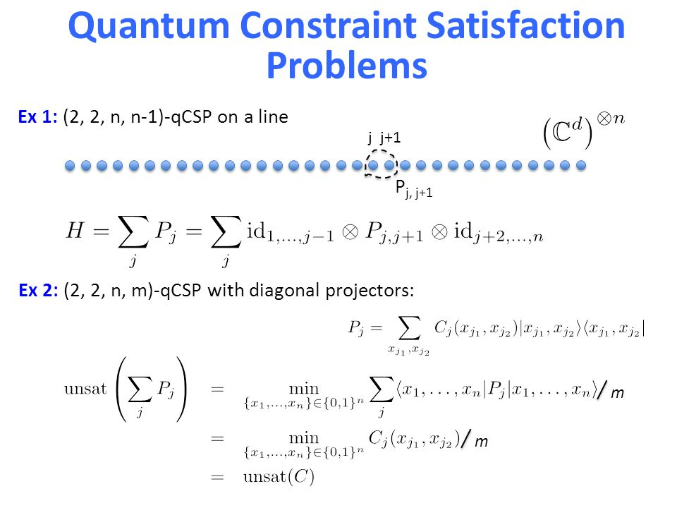 Quantum Constraint Satisfaction Problems P j, j+1 j j+1 Ex 1: (2, 2, n, n-1)-qCSP on a line Ex 2: (2, 2, n, m)-qCSP with diagonal projectors: m m