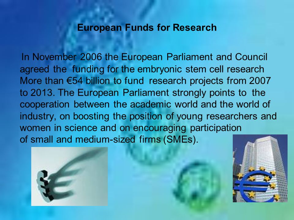 European Funds for Research In November 2006 the European Parliament and Council agreed the funding for the embryonic stem cell research More than €54 billion to fund research projects from 2007 to 2013.