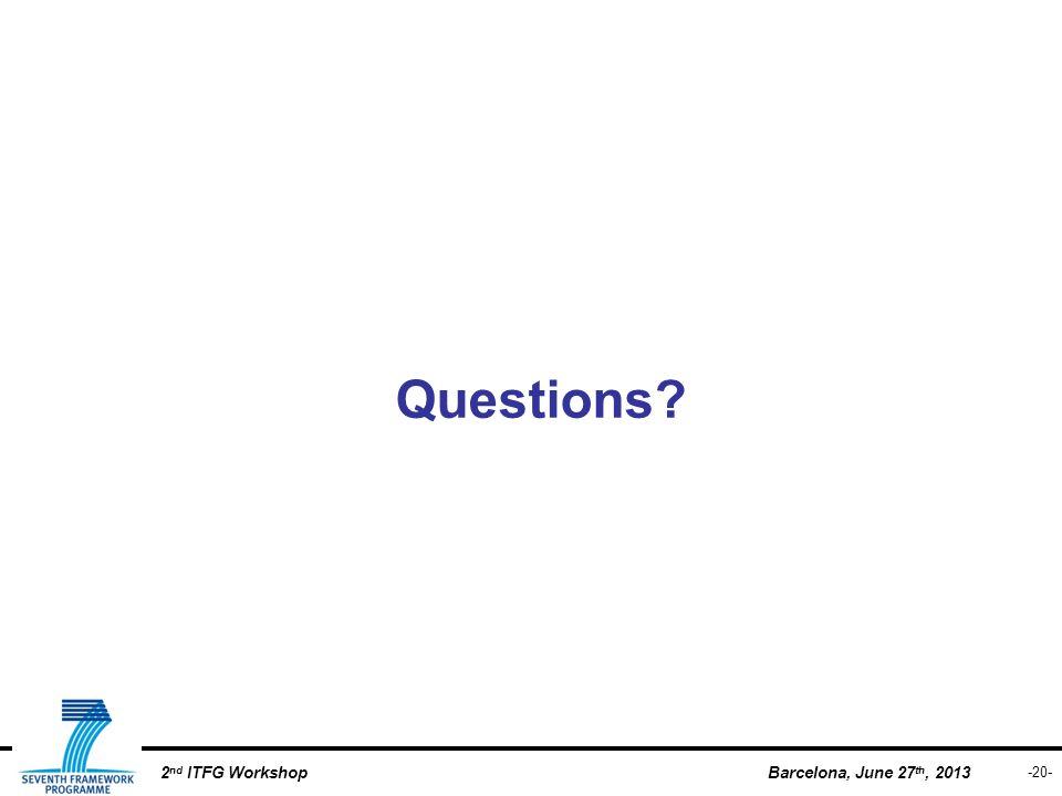 -20- Barcelona, June 27 th, 20132 nd ITFG Workshop Questions?