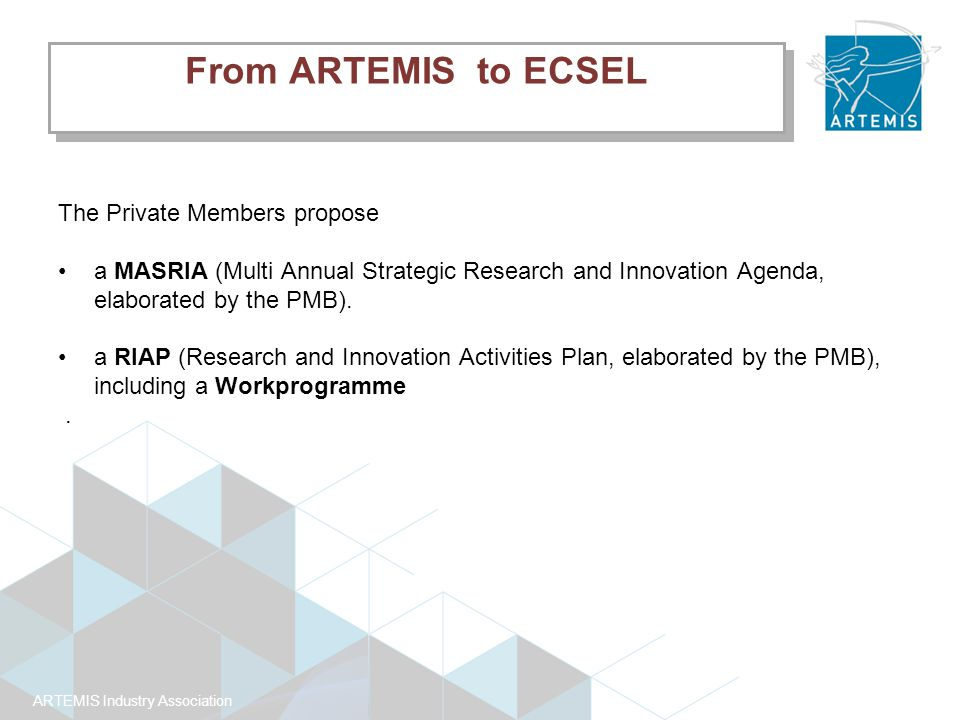 ARTEMIS Industry Association The Private Members propose a MASRIA (Multi Annual Strategic Research and Innovation Agenda, elaborated by the PMB).