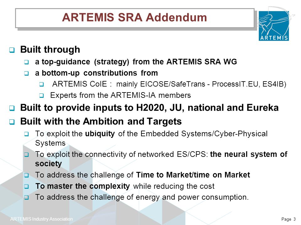 ARTEMIS Industry Association Page 3 ARTEMIS SRA Addendum  Built through  a top-guidance (strategy) from the ARTEMIS SRA WG  a bottom-up constributions from  ARTEMIS CoIE : mainly EICOSE/SafeTrans - ProcessIT.EU, ES4IB)  Experts from the ARTEMIS-IA members  Built to provide inputs to H2020, JU, national and Eureka  Built with the Ambition and Targets  To exploit the ubiquity of the Embedded Systems/Cyber-Physical Systems  To exploit the connectivity of networked ES/CPS: the neural system of society  To address the challenge of Time to Market/time on Market  To master the complexity while reducing the cost  To address the challenge of energy and power consumption.