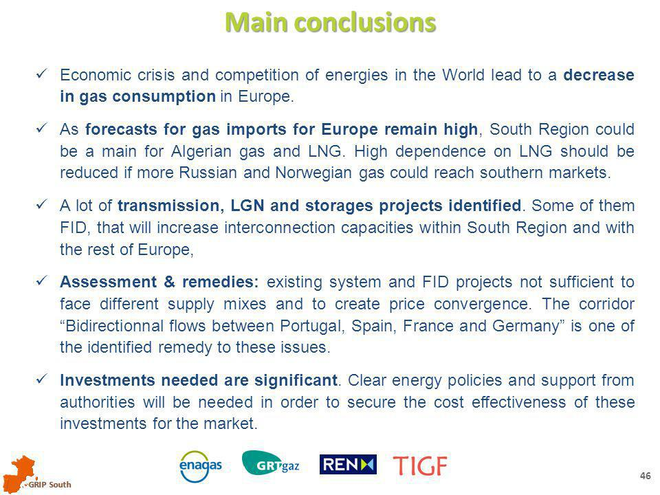 GRIP South 45 GRIP South – Assessments Key conclusions Remedies to divergence of prices Reduce LNG dependence with bi-directionnal flows between Portugal, Spain, France and Germany with: 3 rd IP between Portugal and Spain MidCat project Core network reinforcement in France (merger) Reverse flow from France to Germany