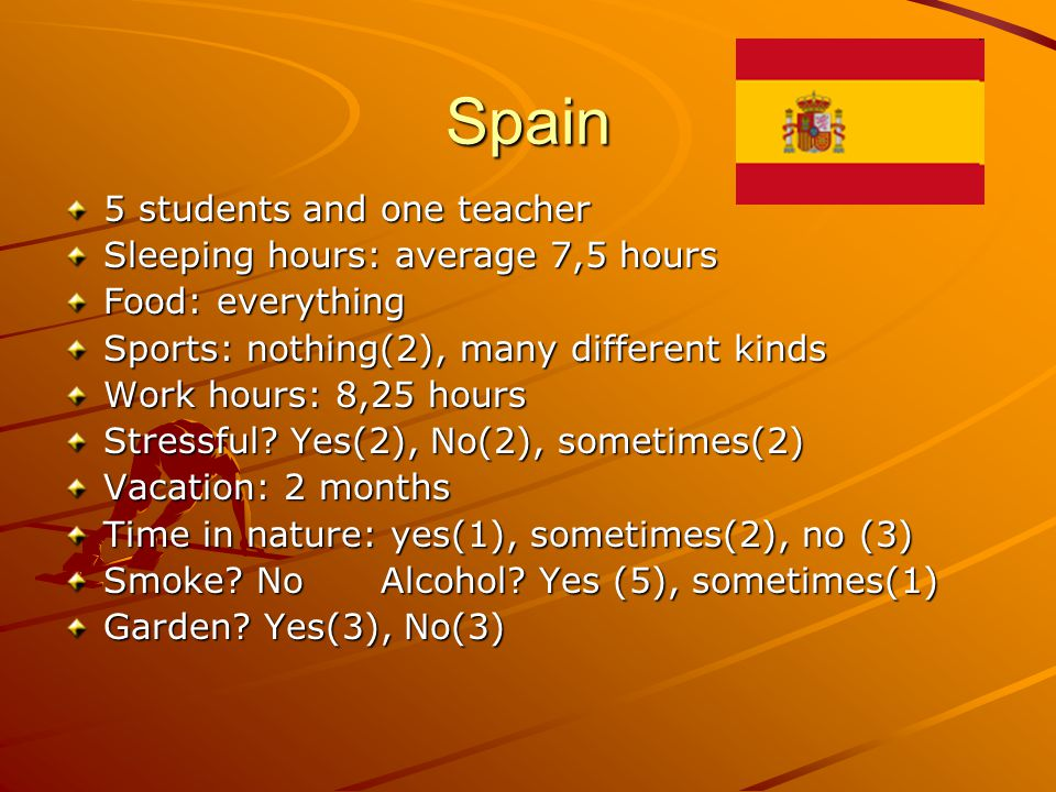 Spain 5 students and one teacher Sleeping hours: average 7,5 hours Food: everything Sports: nothing(2), many different kinds Work hours: 8,25 hours Stressful.