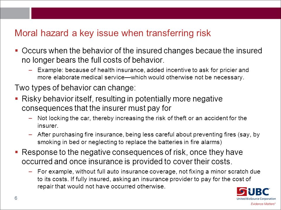 How to incentivize to reduce moral hazard behavior.